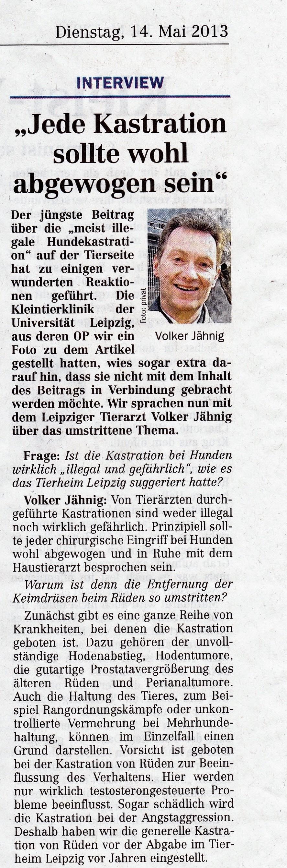 """Kastration bei Hunden – """"Leipziger Volkszeitung"""" veröffentlicht Interview mit Dr. Jähnig"""